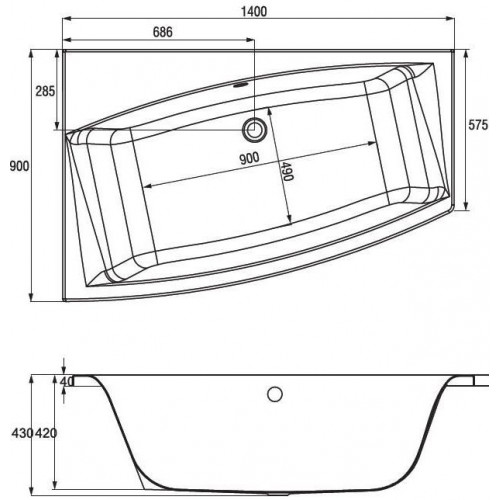 Акриловая ванна CERSANIT VIRGO MAX 150x90 (сифон в подарок)