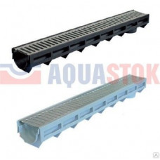 Aquastok желоб дренажный пластиковый с оцинкованной решеткой H100